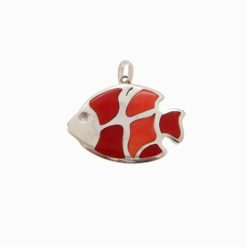 pendentif poisson argent et corail rouge