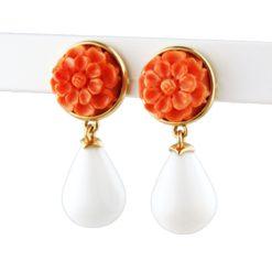 Dahlias en corail rose et opale
