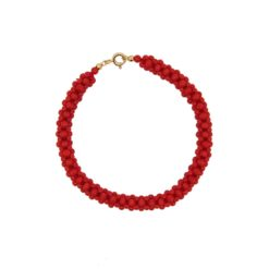 bracelet tissé perles corail rouge méditerranée fermoir or jaune 18 carat