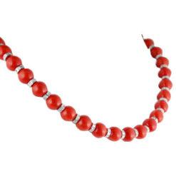 Collier perles, corail et diamants