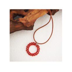 Pendentif tribal en corail rouge et argent