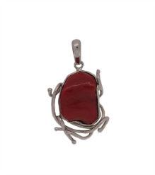 Pendentif en argent et corail rouge (petit modèle)