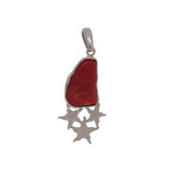 Pendentif en argent, corail rouge et étoiles (grand modèle).