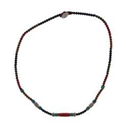 Collier tissé, turquoises, argent et corail rouge