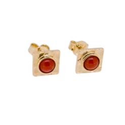 boucles d'oreilles argent doré losange système poussette cabochons corail rouge méditerranée