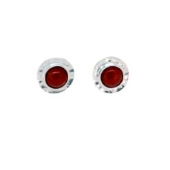 boucles d'oreilles argent martelé système poussette cabochon rond corail rouge méditerranée