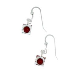 boucles d'oreilles crochet monture argent cabochons ronds corail rouge méditerranée