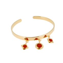 bracelet jonc argent doré breloques avec corail rouge méditerranée