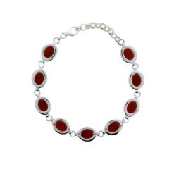 bracelet argent et cabochons ovales corail rouge méditerranée