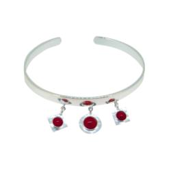 bracelet jonc argent breloques avec corail rouge méditerranée