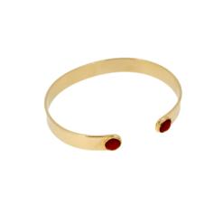 bracelet jonc plat argent doré deux cabochons corail rouge méditerranée
