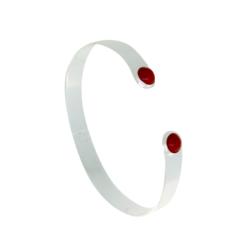 bracelet jonc plat argent deux cabochons ronds corail rouge méditerranée