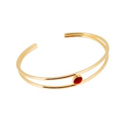 bracelet jonc double fil argent doré un cabochon rond corail rouge