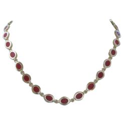 collier argent doré et cabochons ovales corail rouge méditerranée