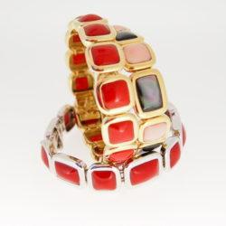 bracelet or jaune 18k cabochons corail rouge méditerranée ou nacre