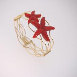 bracelet or jaune 18k 2 etoiles de mer corail rouge de méditerranée