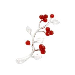 pendentif branche argent fruit rouge corail rouge méditerranée