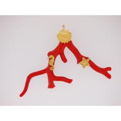 pendentif branche corail rouge méditerranée or jaune 18k