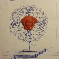maquette pendentif tête de méduse corail rouge méditerranée