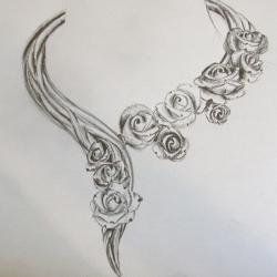 Dessin collier histoire de roses
