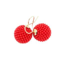 boucles d'oreilles crochet or jaune 18k perles corail rouge méditerranée tissé