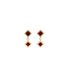 boucles d'oreilles argent doré carré corail rouge méditerranée corsica