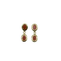 boucles d'oreilles argent doré deux cabochons ovales corail rouge méditerranée