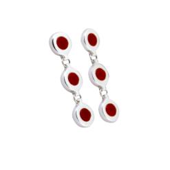 boucles d'oreilles argent cabochon rond corail rouge méditerranée