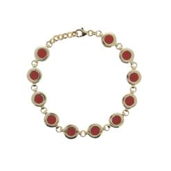 bracelet argent doré et cabochons ovales corail rouge méditerranée