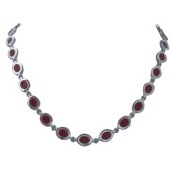 collier argent cabochons ovales corail rouge de méditerranée
