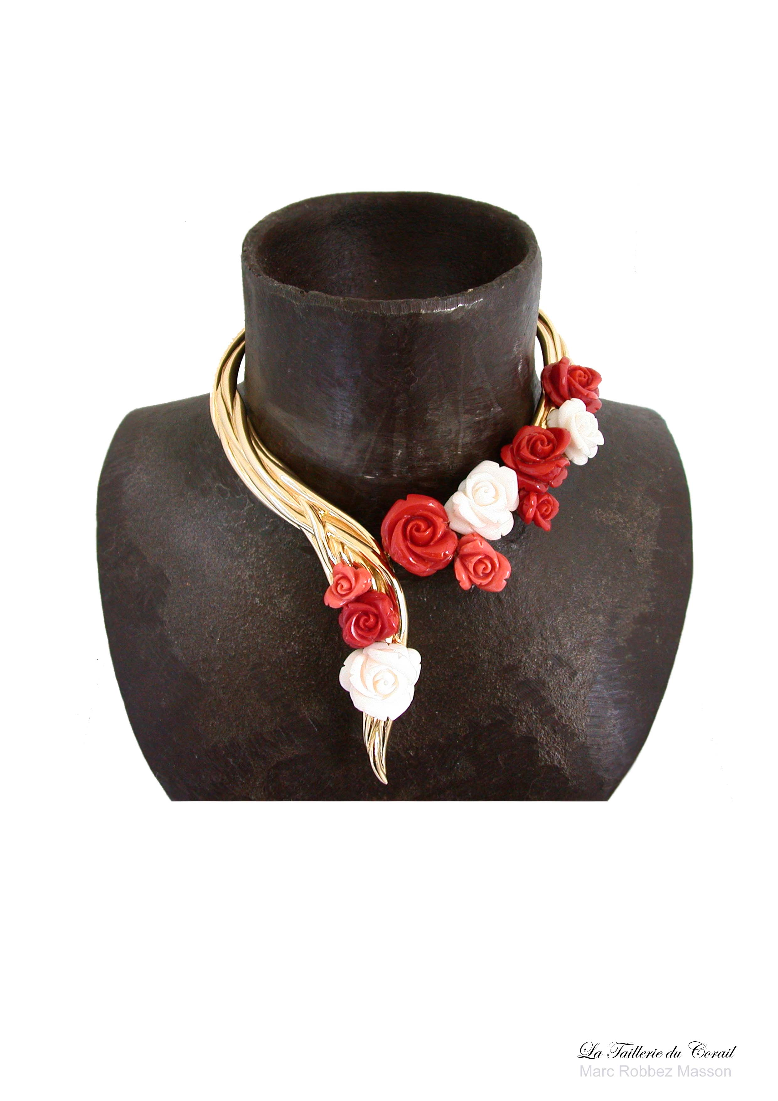 collier or jaune 18k histoire de rose corail rouge blanc rose