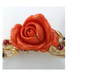 bracelet or pierres et rose de corail rouge