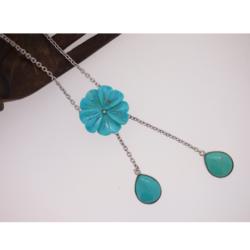 pendentif bleu turquoise fleur d'Iran