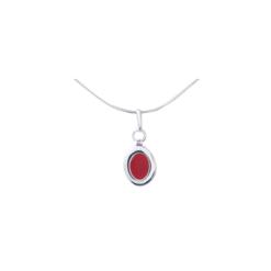 pendentif argent cabochons ovales corail rouge méditerranée