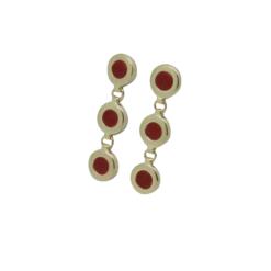 boucles d'oreilles argent doré cabochon corail rouge méditerranée corse