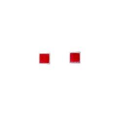 boucles d'oreilles argent motif carré avec corail rouge de méditerranée corse système poussette