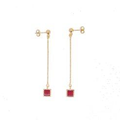 boucles d'oreilles argent doré pendante carré corail rouge méditerranée corse système poussette