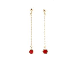 boucles d'oreilles pendantes motif rond avec corail rouge de méditerranée corse