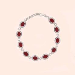 bracelet argent avec motif ovale en corail rouge de méditerranée corse