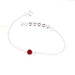 bracelet argent avec motif rond en corail rouge de méditerranée face