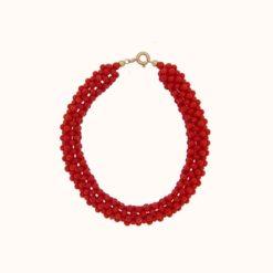 bracelet tissé perles corail rouge de méditerranée corse fermoir or jaune 18k