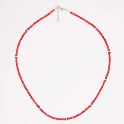 Collier boules corail rouge, rhodolites et argent.
