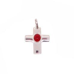 Pendentif croix argent pleine cabochon corail rouge méditerranée