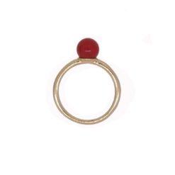 bague anneau argent doré perles corail méditerranée