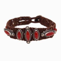 bracelet macramé, argent et cinq cabochons corail rouge méditerranée