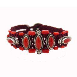 bracelet macramé navette corail rouge méditerranée sur argent