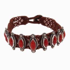 bracelet macramé, argent et cinq cabochons corail rouge méditerranée coté