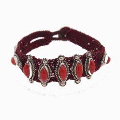 bracelet macramé, argent et neuf navettes corail rouge méditerranée