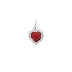 pendentif coeur argent avec cabochon corail rouge méditerranée