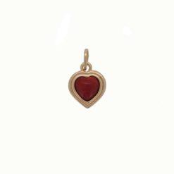 pendentif coeur argent doré avec cabochon corail rouge méditerranée